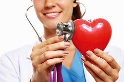 модель сердца и стетоскоп