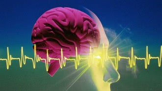 кардиограмма на фоне мозга человека
